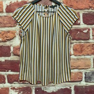 ADRIANNA PAPELL MUSTARD YELLOW STRIPED BLOUSE